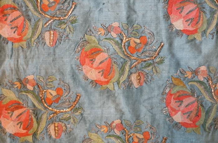 Antique Turkish Silk Ottoman Embroidery Flowers Nazmiyal