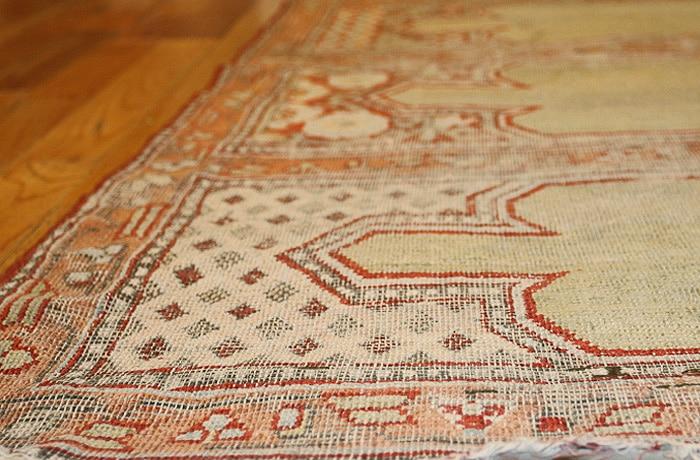 Antique 18th Century Silk Khotan Yarkand Prayer Saph Salmon Border Nazmiyal