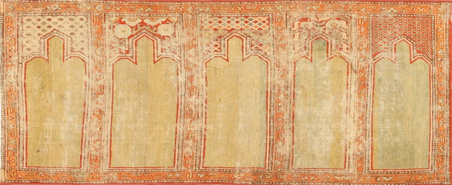 Antique 18th Century Khotan Silk Yarkand Prayer Design Saph 2975 by Nazmiyal