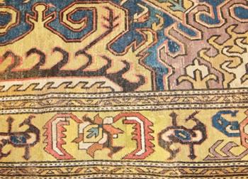 Intricate Border of Caucasian Karabagh Rug