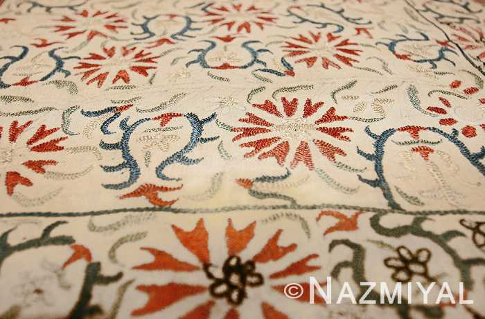 Antique Greek Silk Embroidery Textile Tulips and Carnations