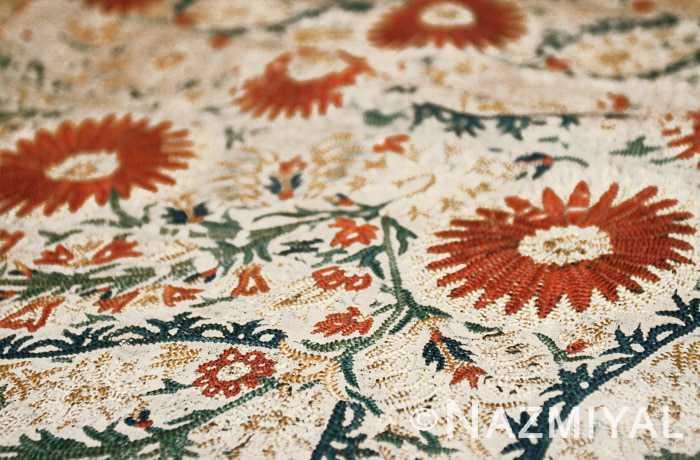 Antique Greek Silk Embroidery Textile Floral Motifs Nazmiyal