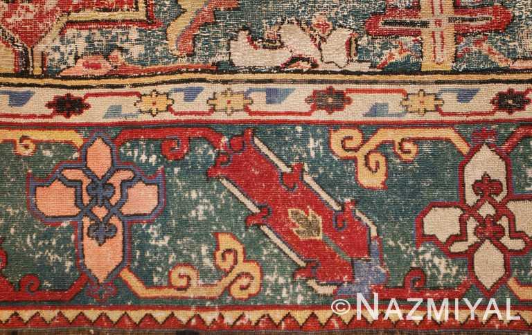 Antique Khorassan Persian Rug Green Border Nazmiyal