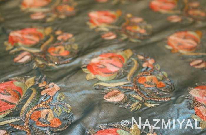 Antique Turkish Silk Ottoman Embroidery Repeated Floral Design Nazmiyal