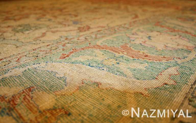 17th Century Antique Silk Polonaise Persian Rug Border Detail
