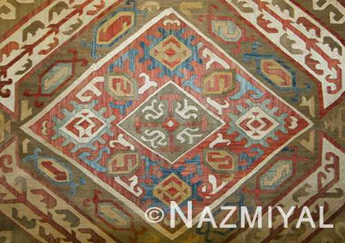 Antique Azerbaijan Silk Kaitag Embroidery Textile Central Lozenge