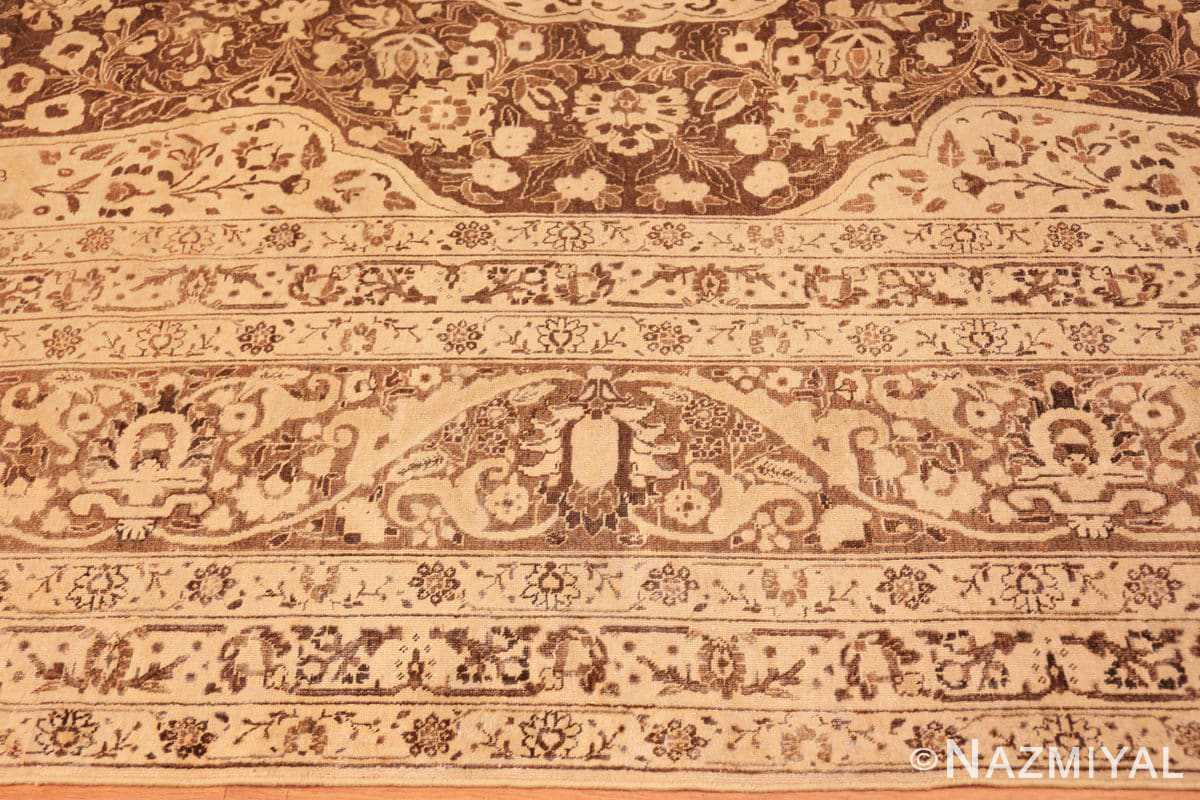 Border Brown background Large Antique Persian Tabriz rug 50450 by Nazmiyal Antique Rugs