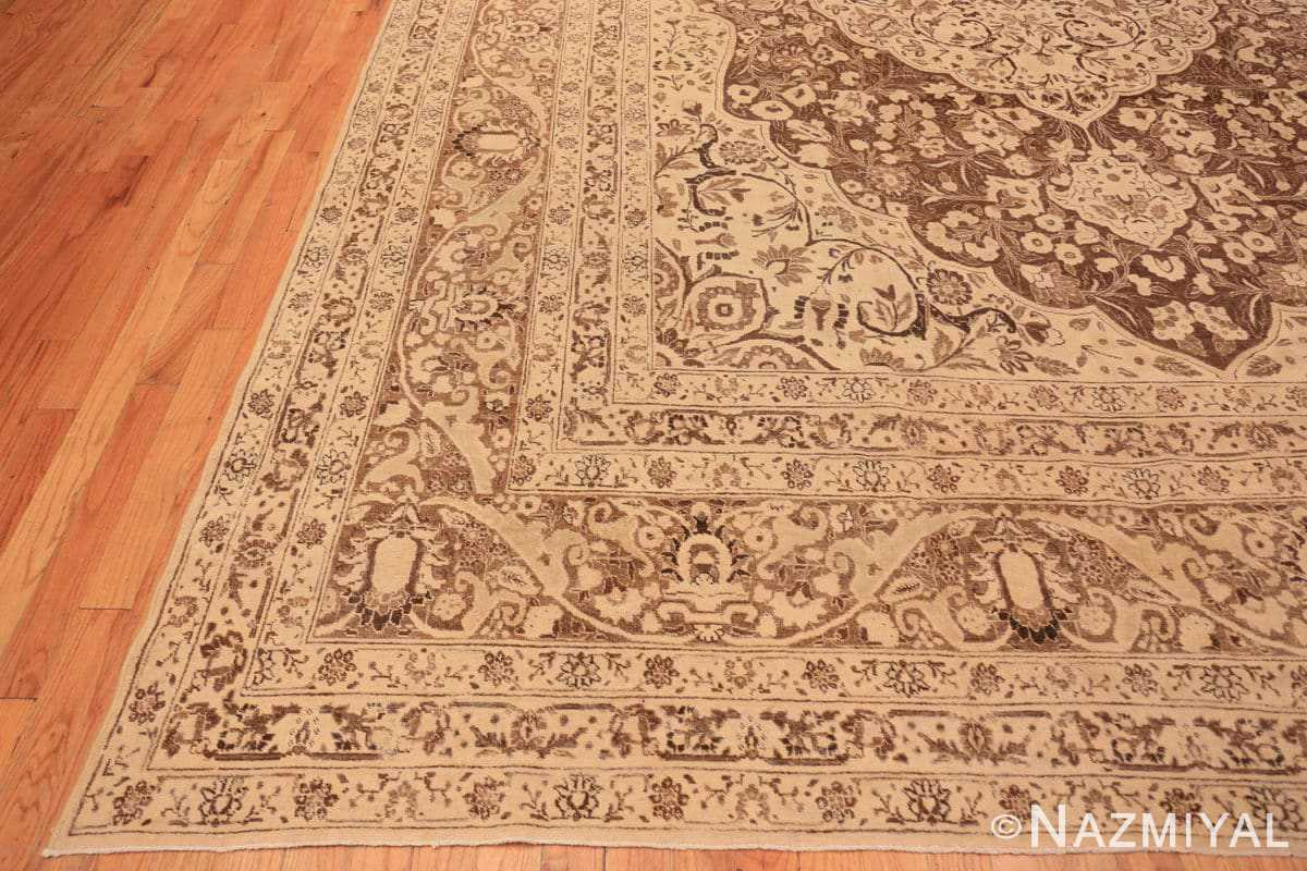 Corner Brown background Large Antique Persian Tabriz rug 50450 by Nazmiyal Antique Rugs