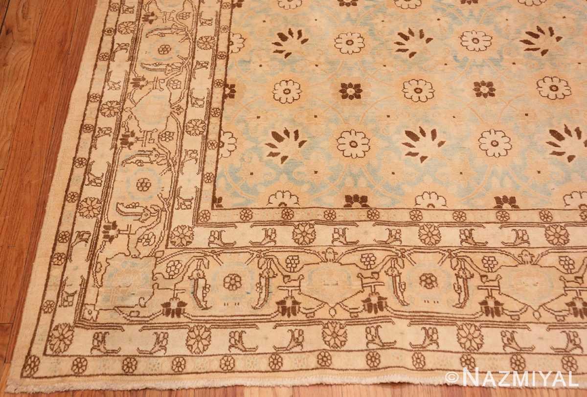 Corner Light blue Antique Persian Tabriz rug 47779 by Nazmiyal