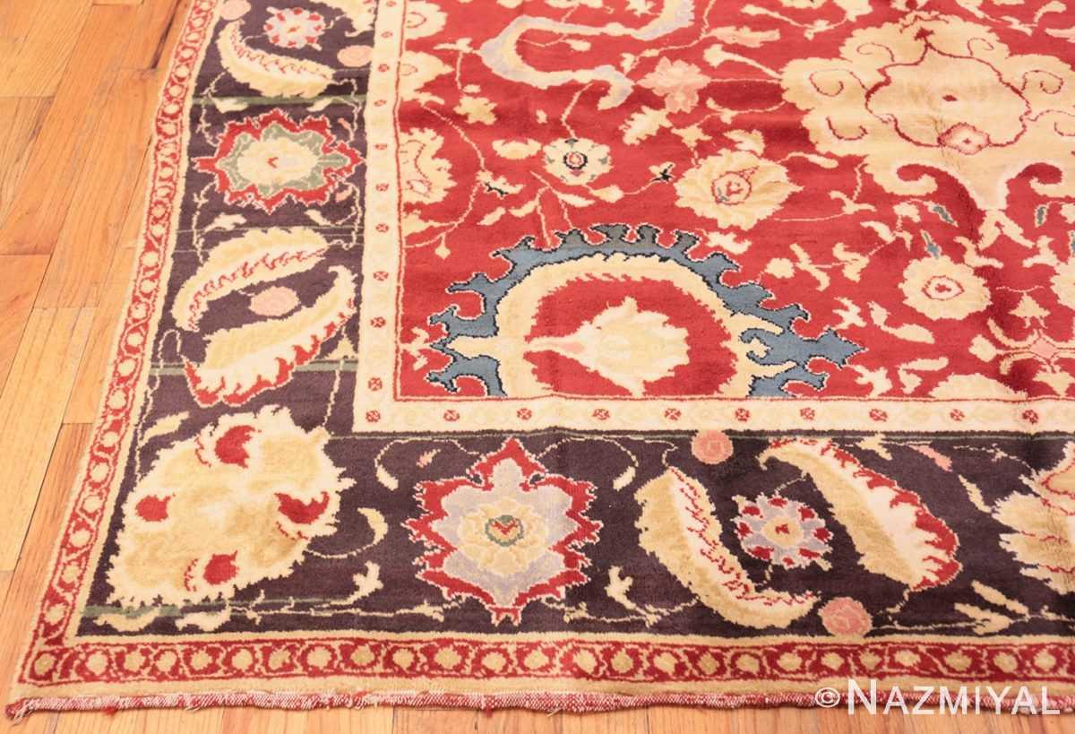 Corner Red background Vintage Indian Agra rug 48756 by Nazmiyal