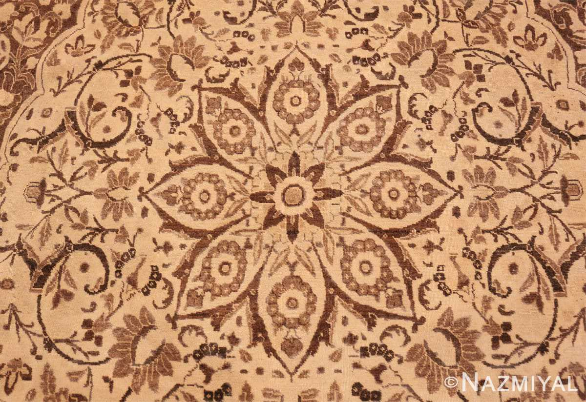 Detail Brown background Large Antique Persian Tabriz rug 50450 by Nazmiyal Antique Rugs
