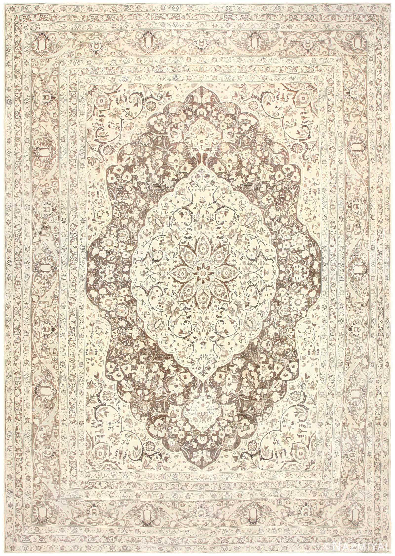 Floral Medallion Antique Persian Tabriz Rug 50450 Nazmiyal