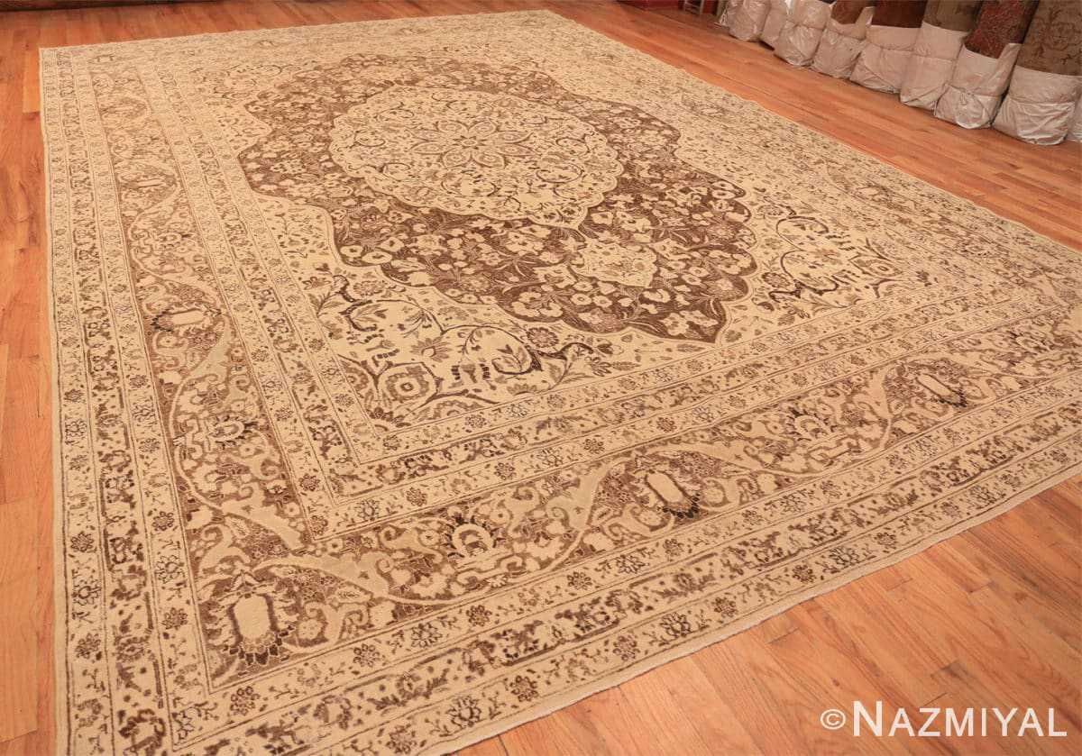 Full Brown background Large Antique Persian Tabriz rug 50450 by Nazmiyal Antique Rugs