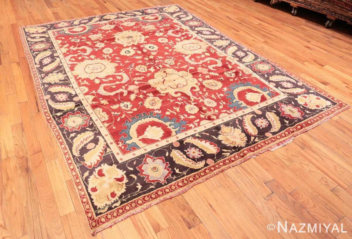 Full Red background Vintage Indian Agra rug 48756 by Nazmiyal