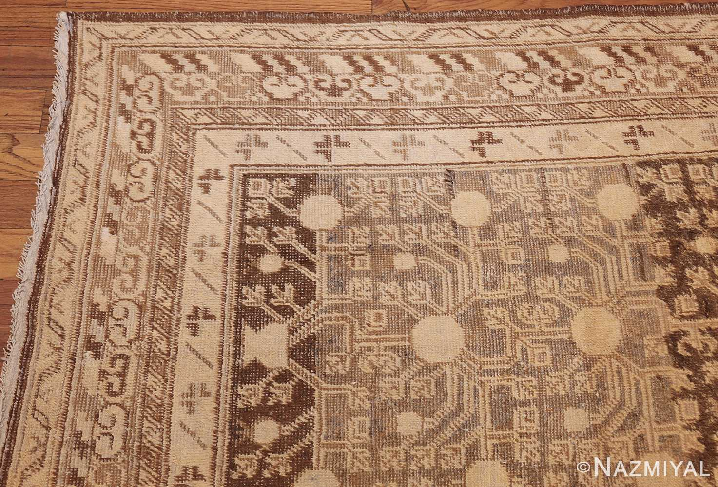 shabby chic antique east turkestan khotan rug 50485 corner Nazmiyal