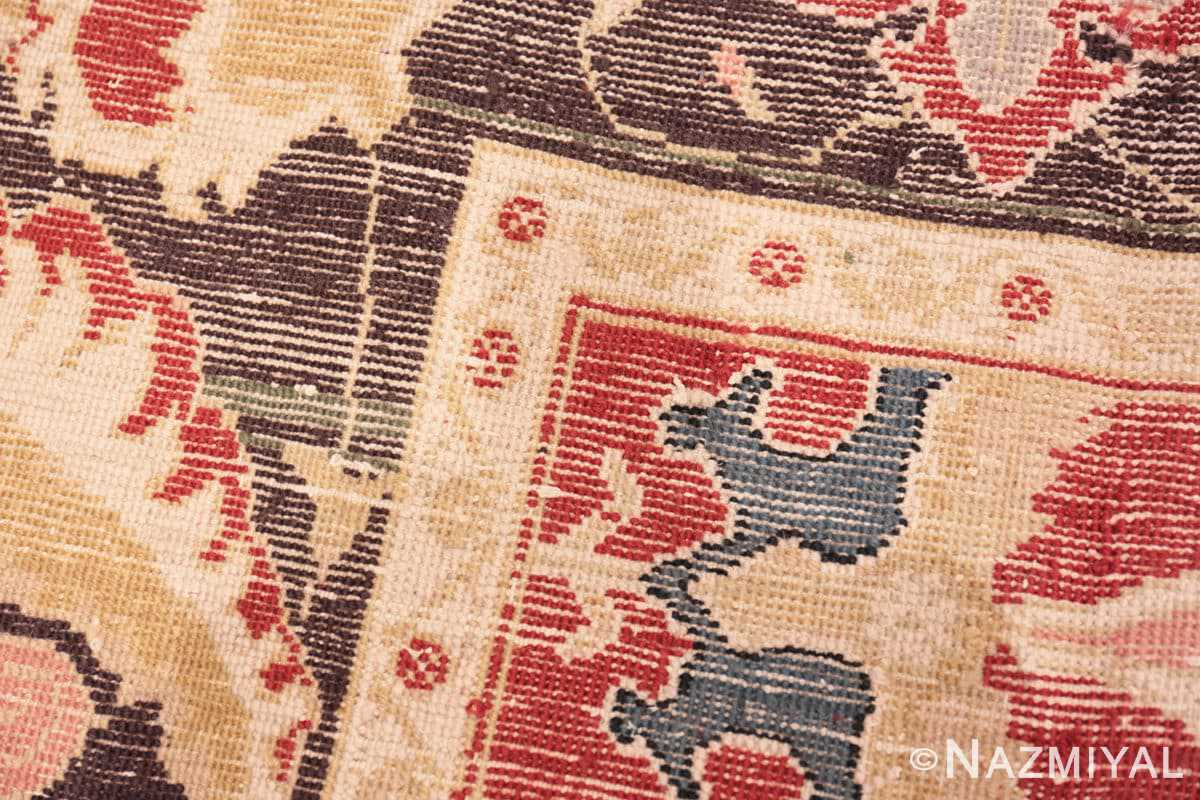 Weave detail Red background Vintage Indian Agra rug 48756 by Nazmiyal