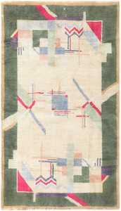 Cotton Indian Art Deco Rug 48426 Detail/Large View