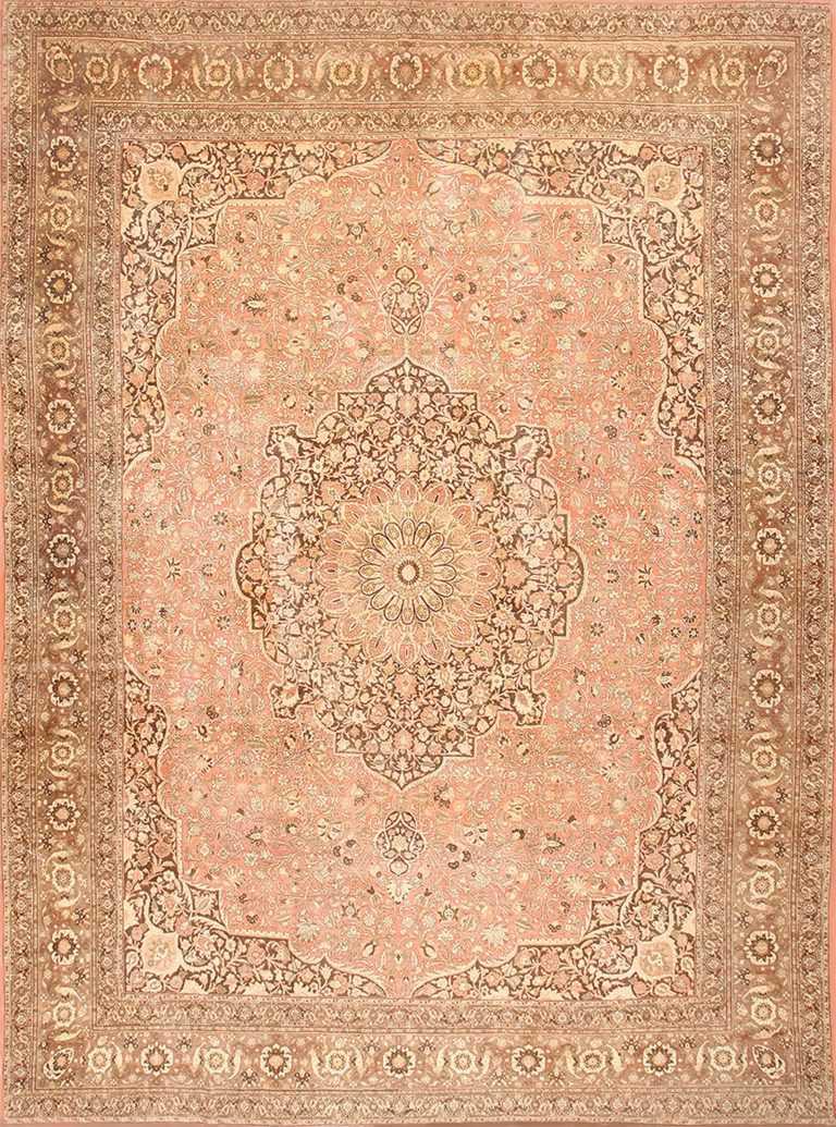 Dusty Rose Antique Persian Tabriz Rug 50456 Nazmiyal