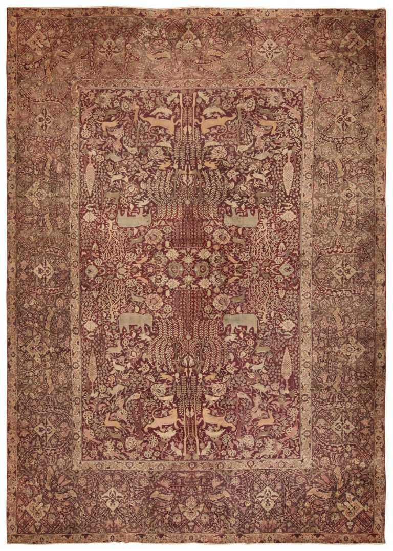 full view of the Large red Antique Indian agra rug 44428 by Nazmiyal
