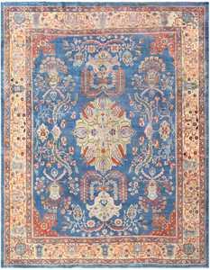 Orange and Blue Antique Persian Farahan Rug 48725 Nazmiyal