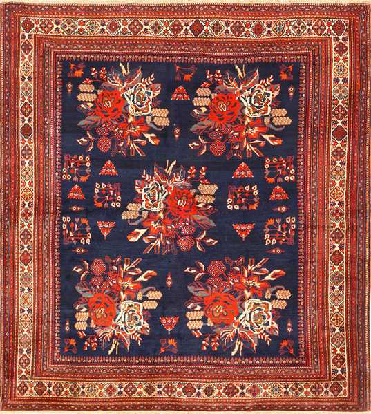 Square, Antique, Persian, Afshar, rug