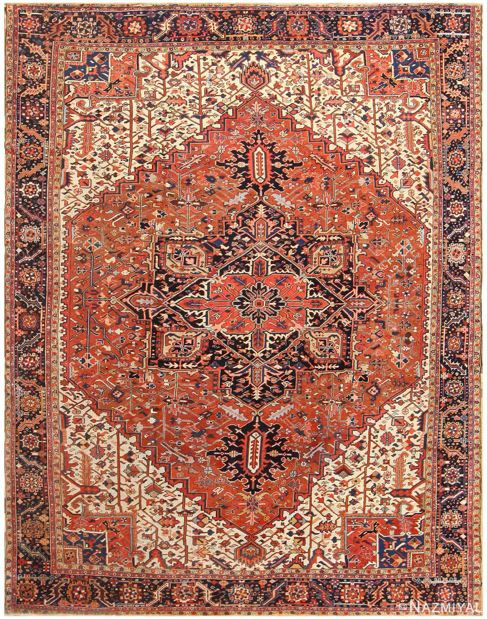 Antique Persian Heriz Rug 48318 Detail/Large View