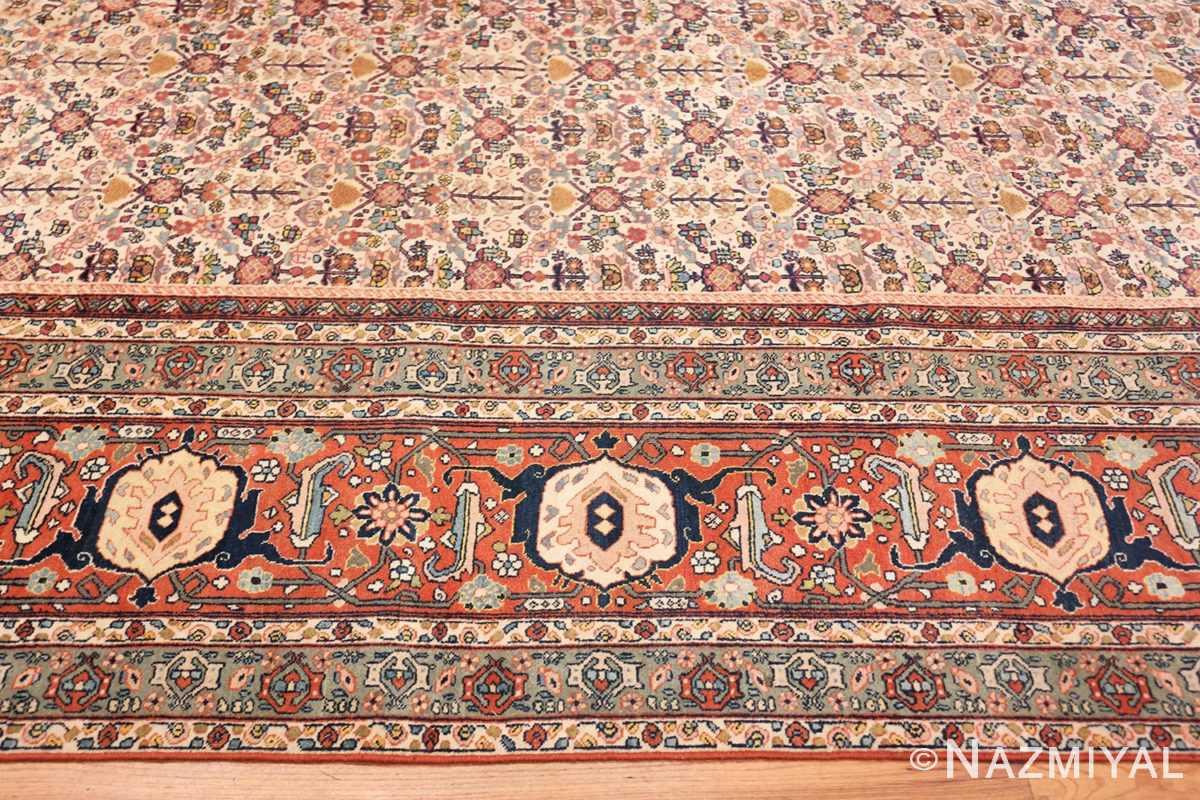 Border Large Antique Ivory Haji Jalili Persian Tavriz rug 48729 by Nazmiyal
