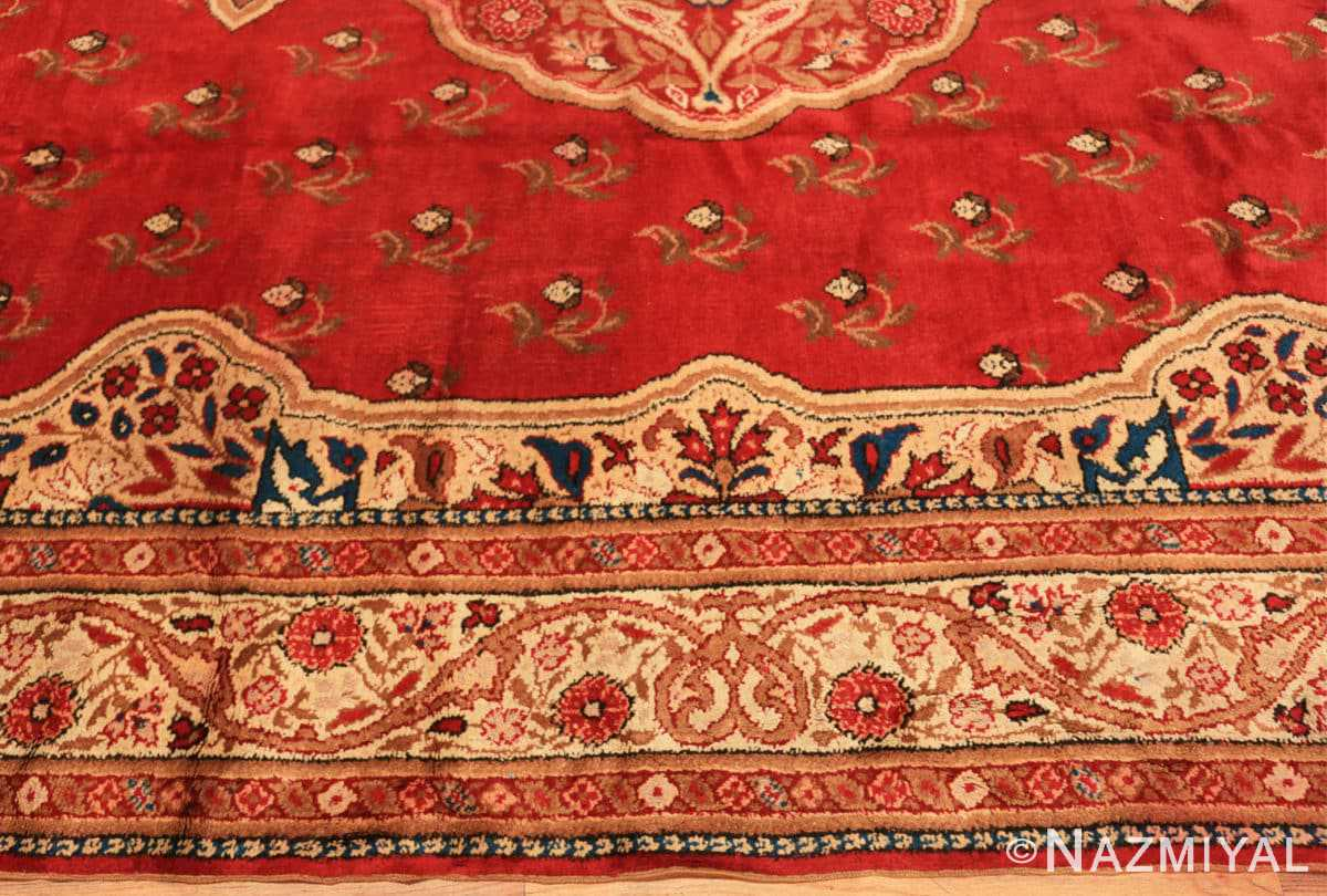 Border Red medallion Antique Irish rug 50481 by Nazmiyal Antique Rugs in NYC