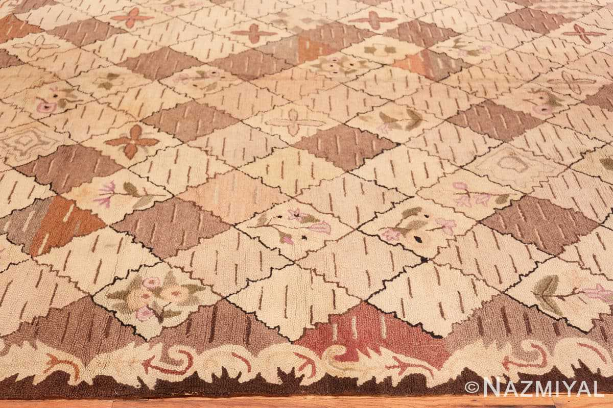Border Treillis Antique American Hooked rug 50558 by Nazmiyal