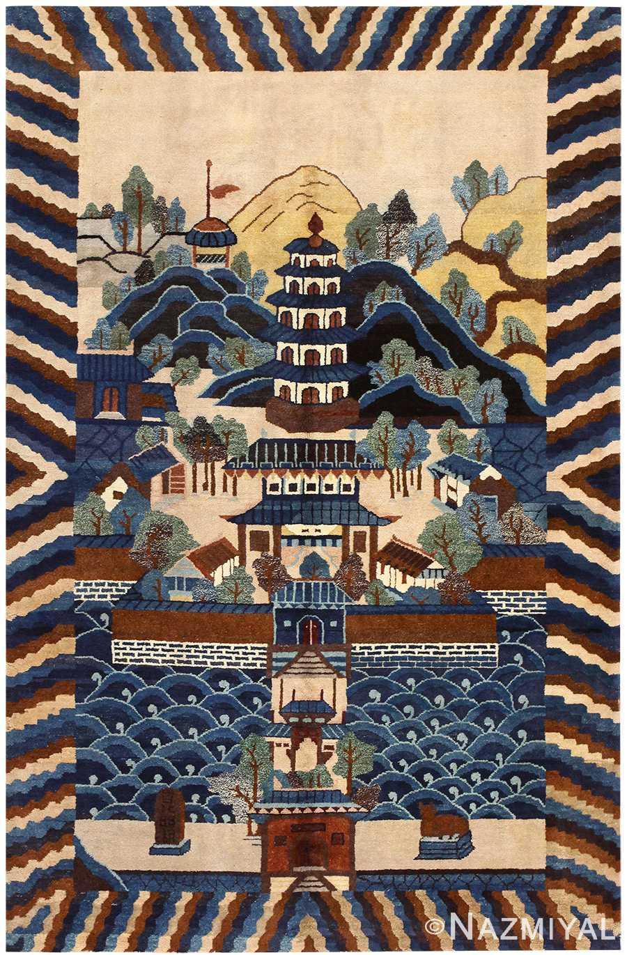 Chinese Deco Rug with Pagoda Scene 48431 Nazmiyal