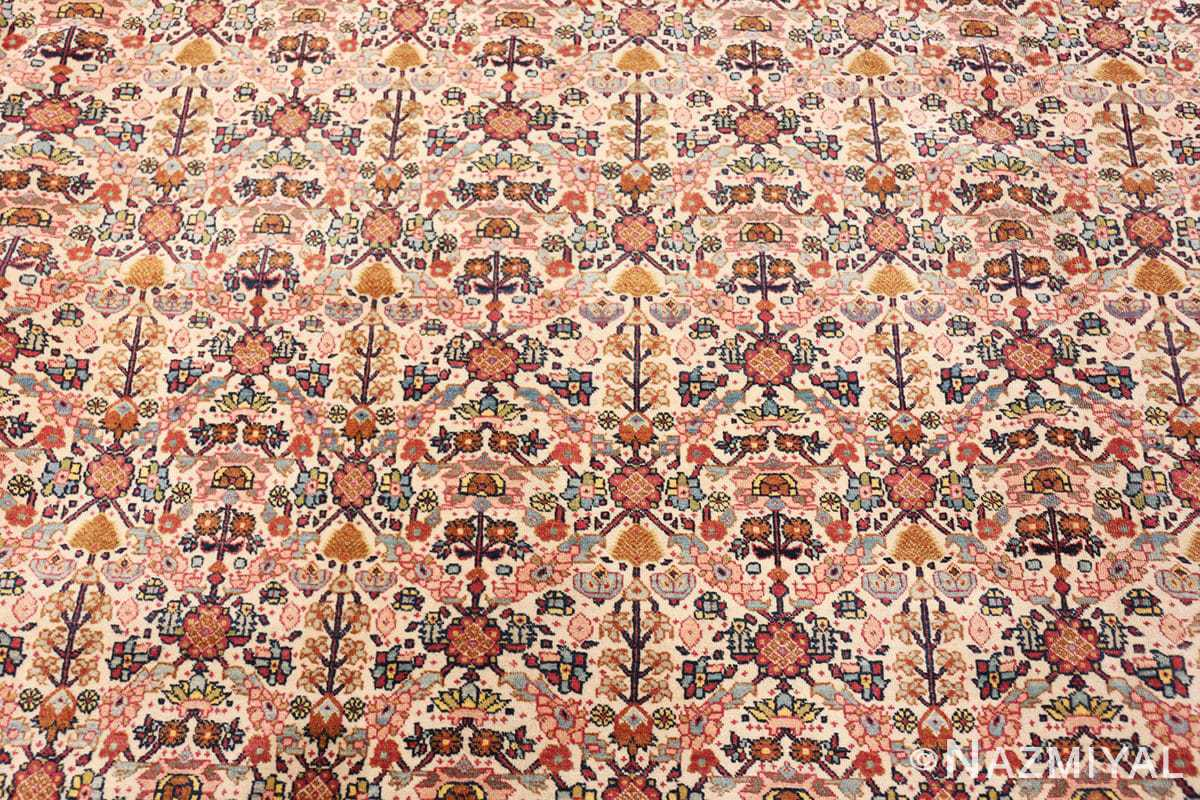 Close up Large Antique Ivory Haji Jalili Persian Tavriz rug 48729 by Nazmiyal