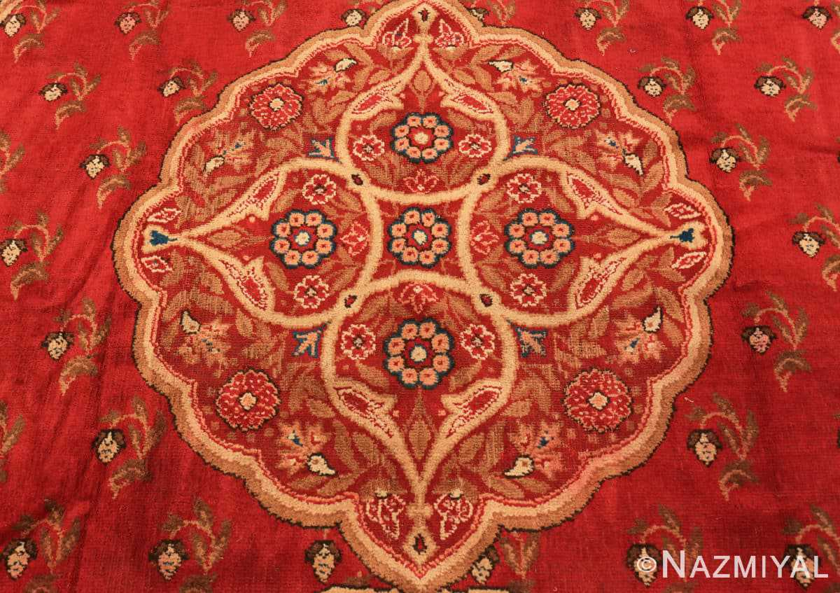 Close-up Red medallion Antique Irish rug 50481 by Nazmiyal Antique Rugs in NYC