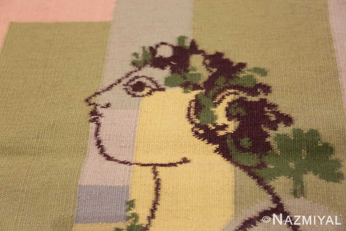 Close-up Small figurative vintage Portuguese tapestry 48787 by Nazmiyal