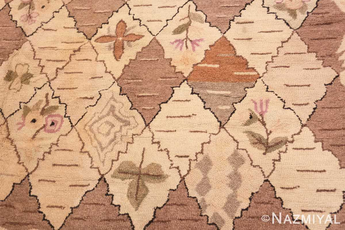 Close-up Treillis Antique American Hooked rug 50558 by Nazmiyal