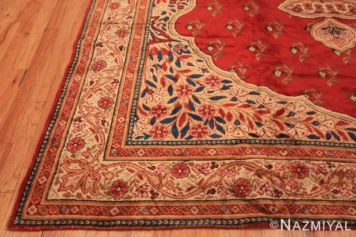 Corner Red medallion Antique Irish rug 50481 by Nazmiyal Antique Rugs in NYC