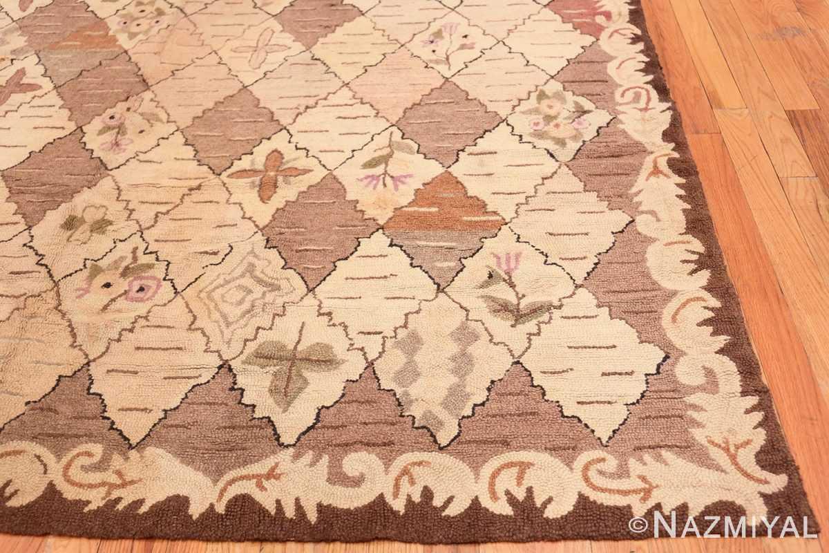 Corner Treillis Antique American Hooked rug 50558 by Nazmiyal