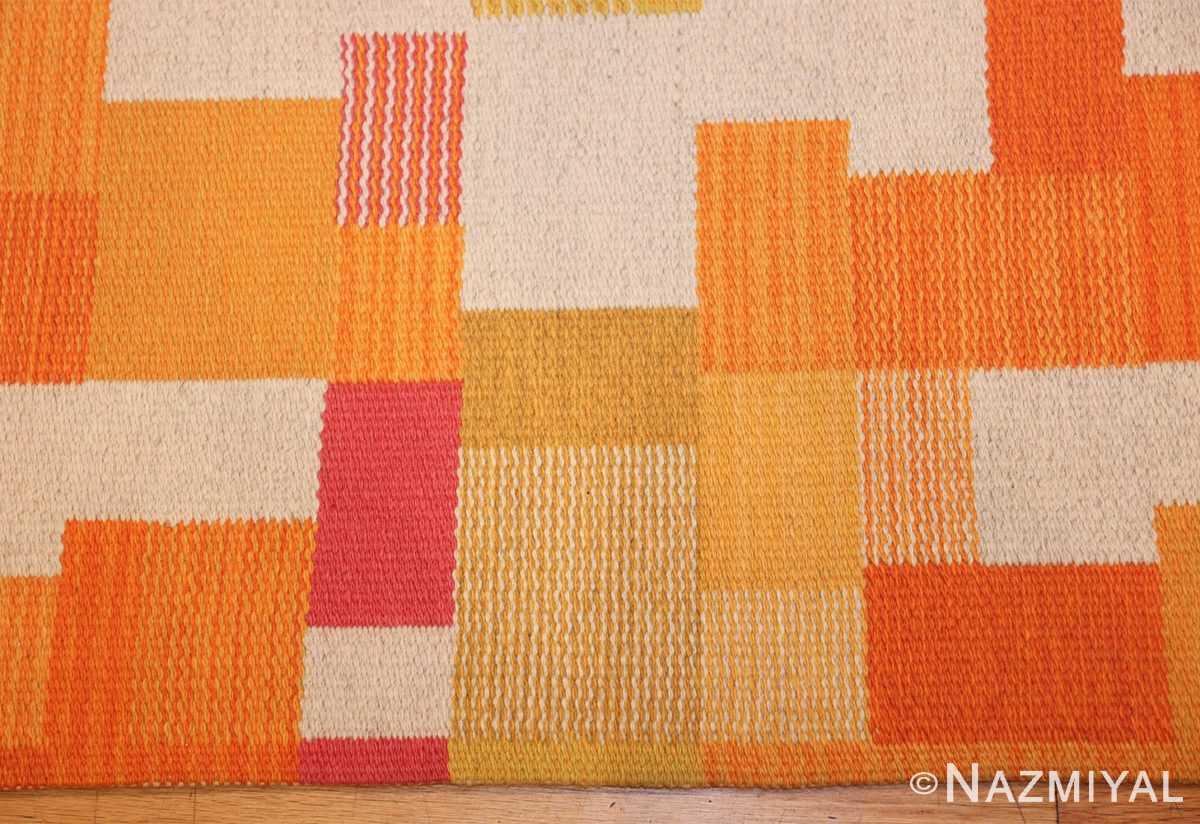 double sided vintage scandinavian swedish rug 48763 border Nazmiyal