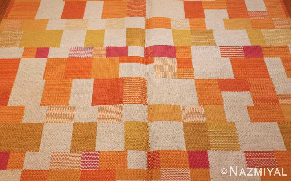 double sided vintage scandinavian swedish rug 48763 white field Nazmiyal