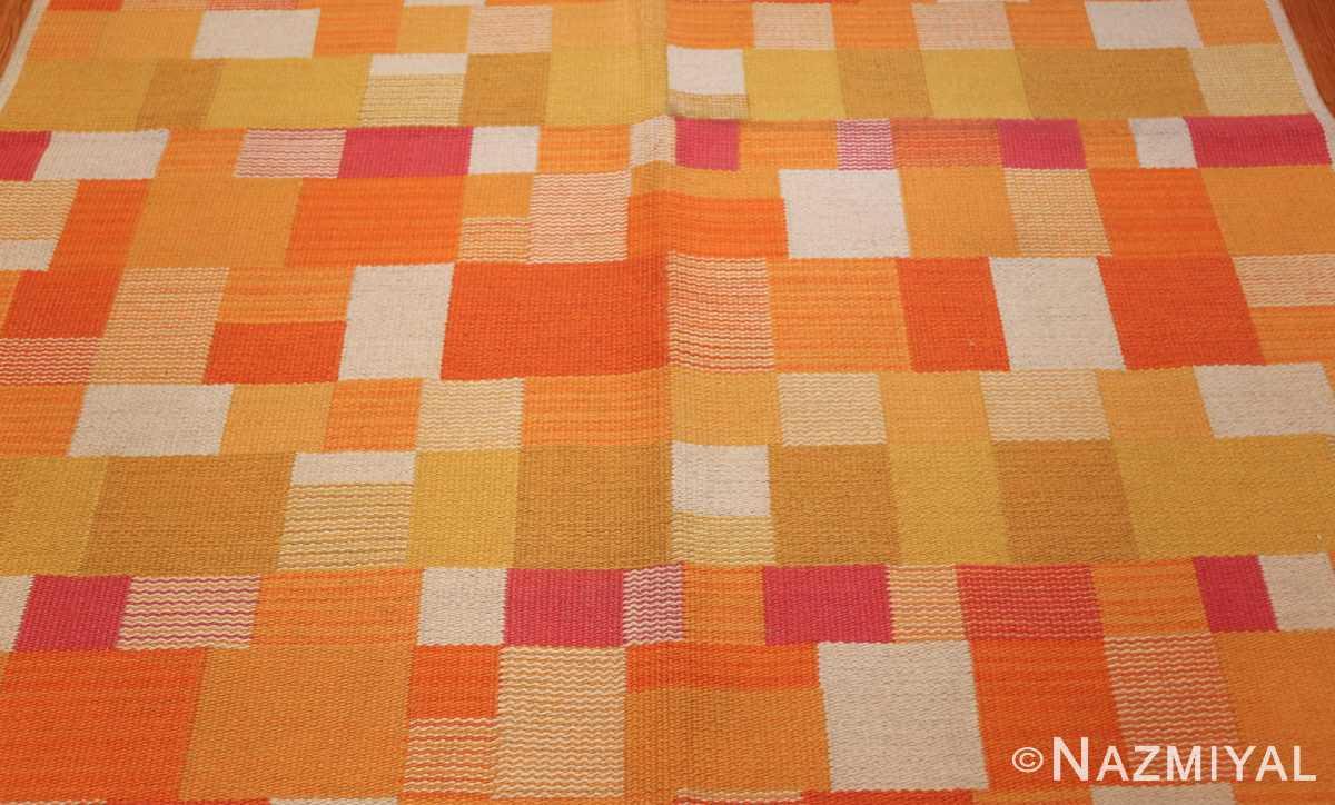 double sided vintage scandinavian swedish rug 48763 yellow field Nazmiyal