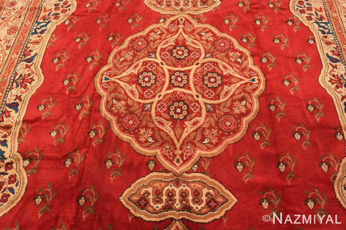 Field Red medallion Antique Irish rug 50481 by Nazmiyal Antique Rugs in NYC