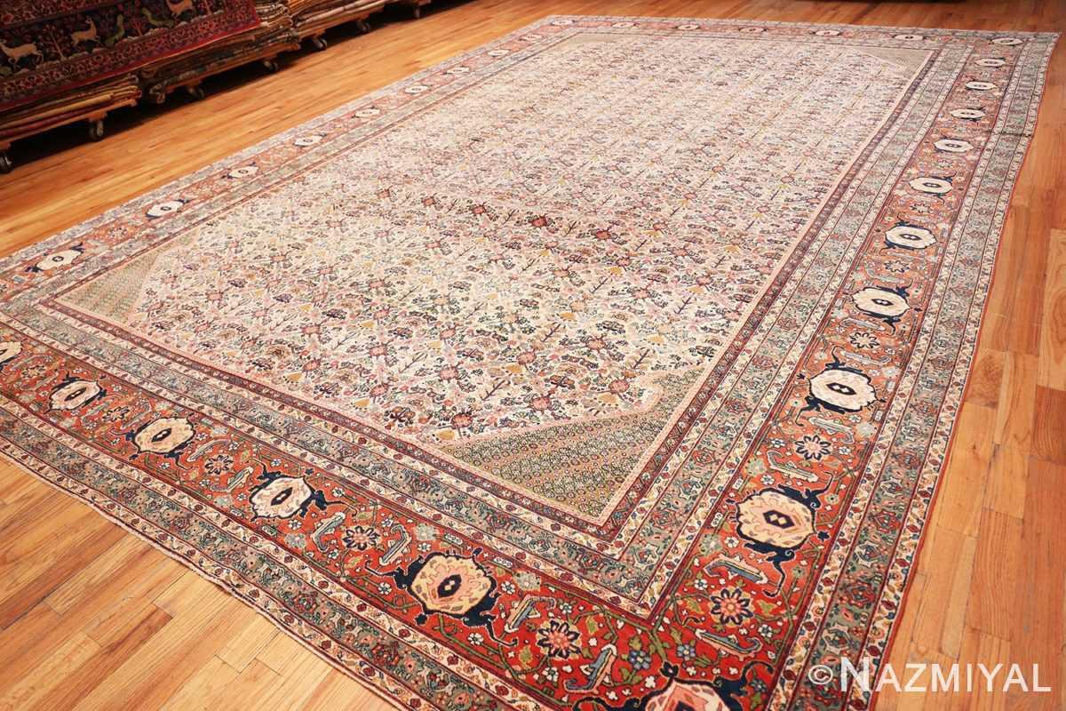 Full Large Antique Ivory Haji Jalili Persian Tavriz rug 48729 by Nazmiyal