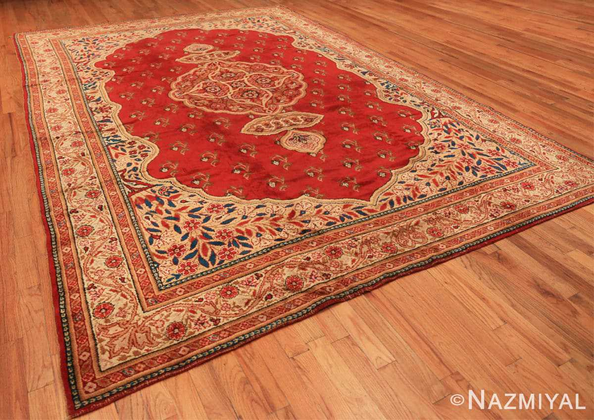 Full Red medallion Antique Irish rug 50481 by Nazmiyal Antique Rugs in NYC