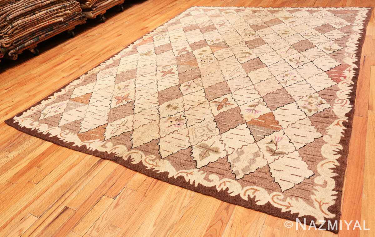 Full Treillis Antique American Hooked rug 50558 by Nazmiyal