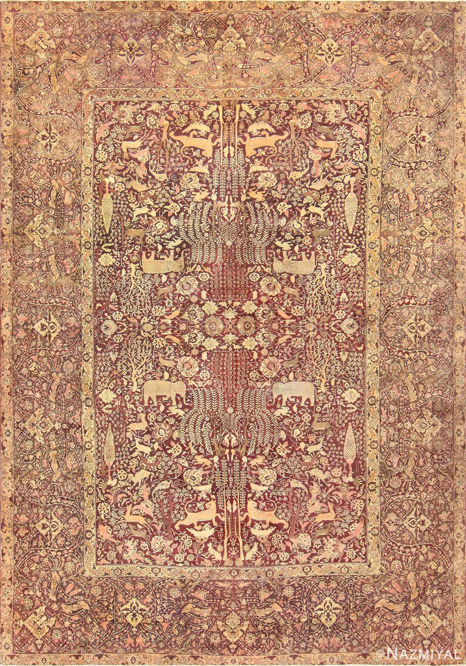 Large Red Antique Indian Agra Rug 44428 Nazmiyal