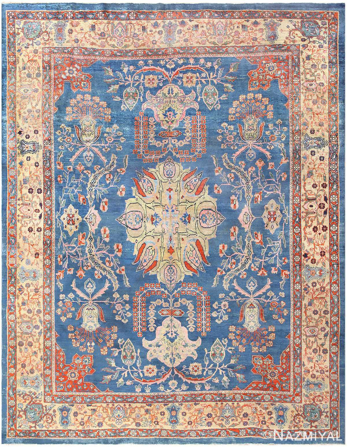 Orange and Blue Antique Persian Farahan Rug 48725 Nazmiyal