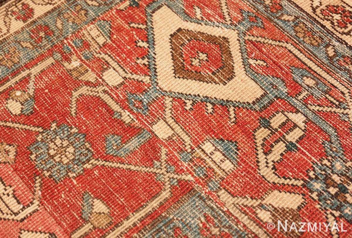 Weave detail Large colorful Antique Persian Serapi rug 50593 by Nazmiyal