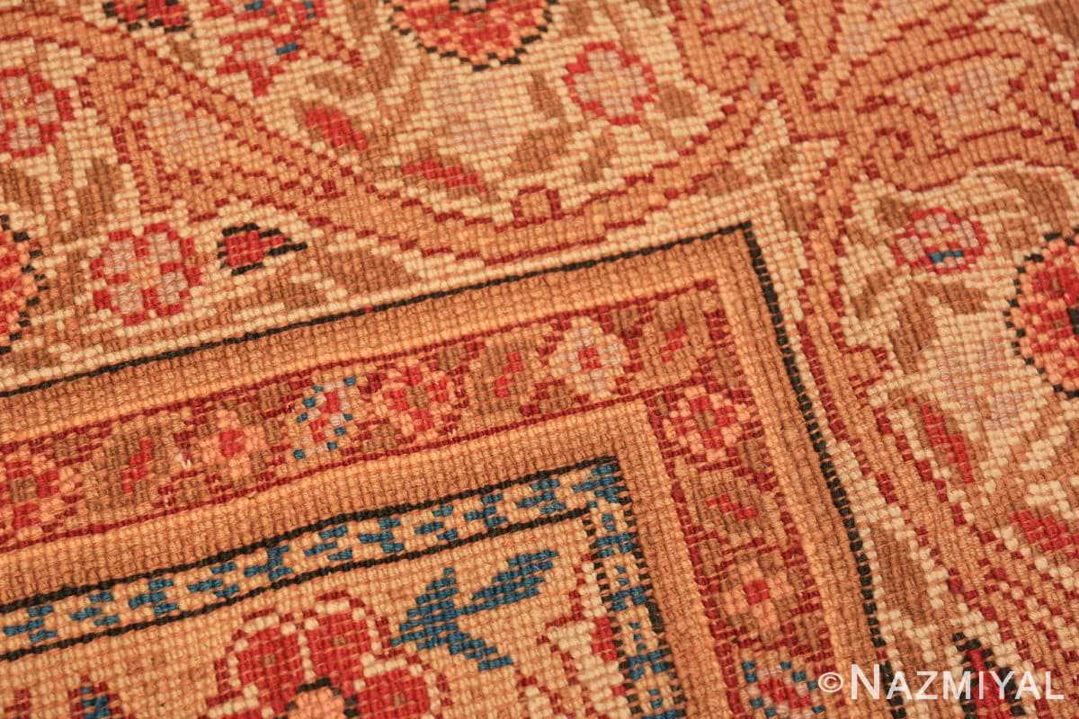 Weave detail Red medallion Antique Irish rug 50481 by Nazmiyal Antique Rugs in NYC