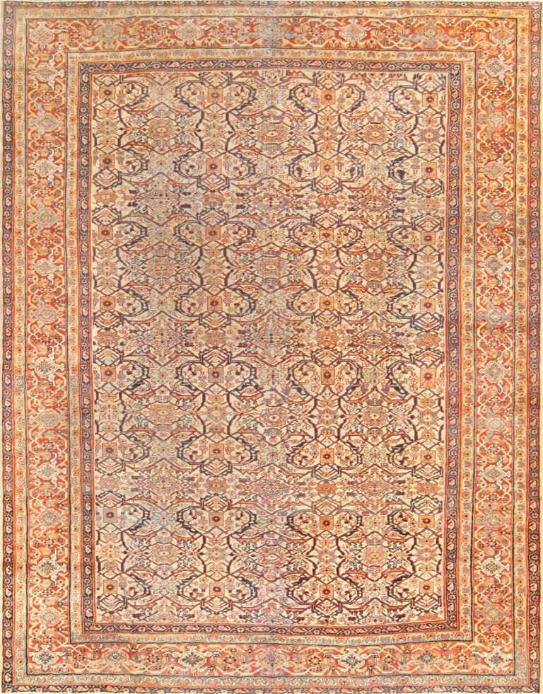 Antique Ivory Background Persian Sultanabad Carpet 50475 Nazmiyal