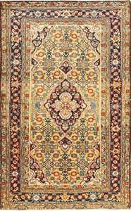 Antique Persian Mahi Fish Design Malayer Rug 50642 Nazmiyal