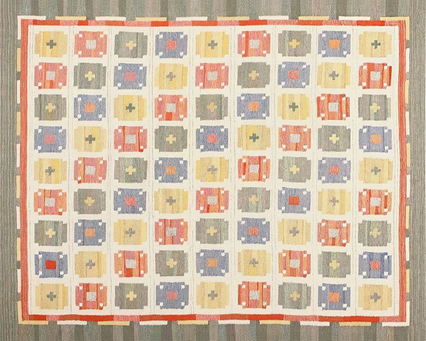 Flat Weave Scandinavian Retro Rug #48602 from Nazmiyal Rugs